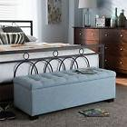 Contemporary Light Blue Fabric Upholstered Grid-Tufting Stor