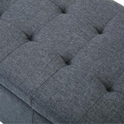 Contemporary Upholstered Tufted Fabric Storage Bench Nailheads