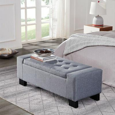 """48"""" Tufted Ottoman Bench Fabric Seat Furniture Home Linen Up"""
