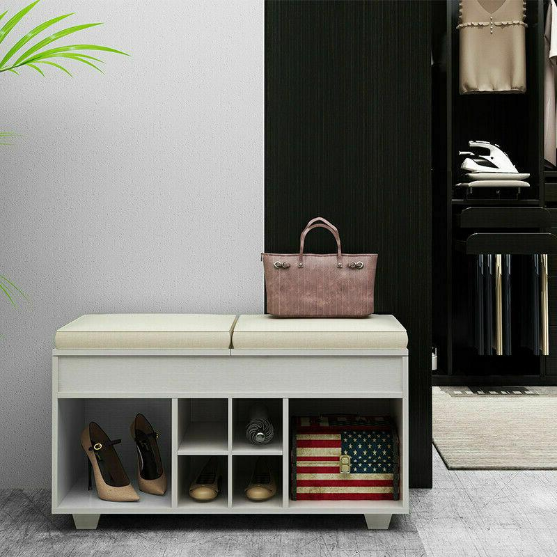 Storage Bench Cushioned Shoe Upholstered 6 Entryway