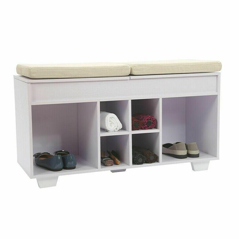 storage bench cushioned shoe upholstered with 6