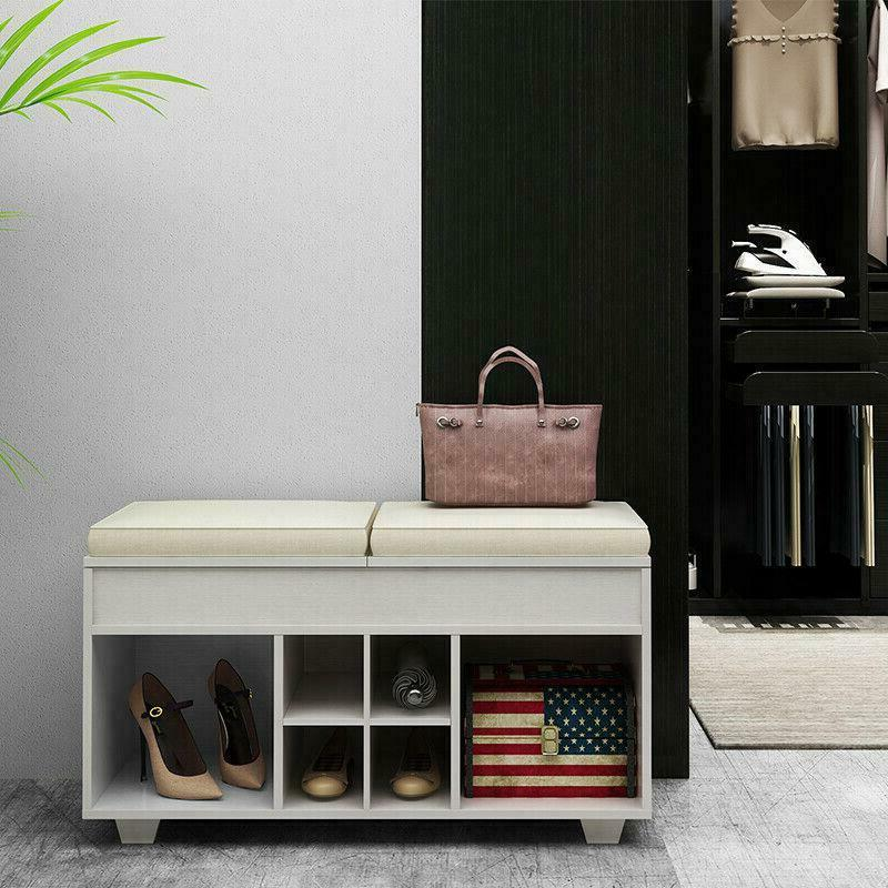 Cushioned Upholstered WIth 6 Entryway Shoe Racks