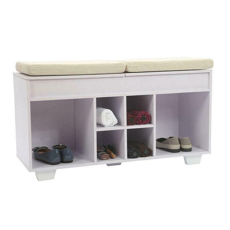 Cushioned Shoe Storage Bench Upholstered WIth 6 Cubby Entryw