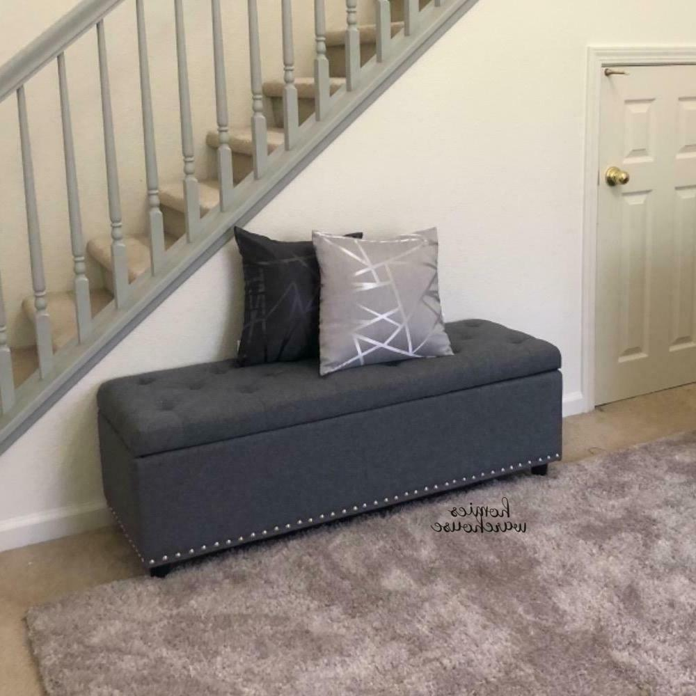 End of Bench Gray Tufted Seat Hallway Furniture