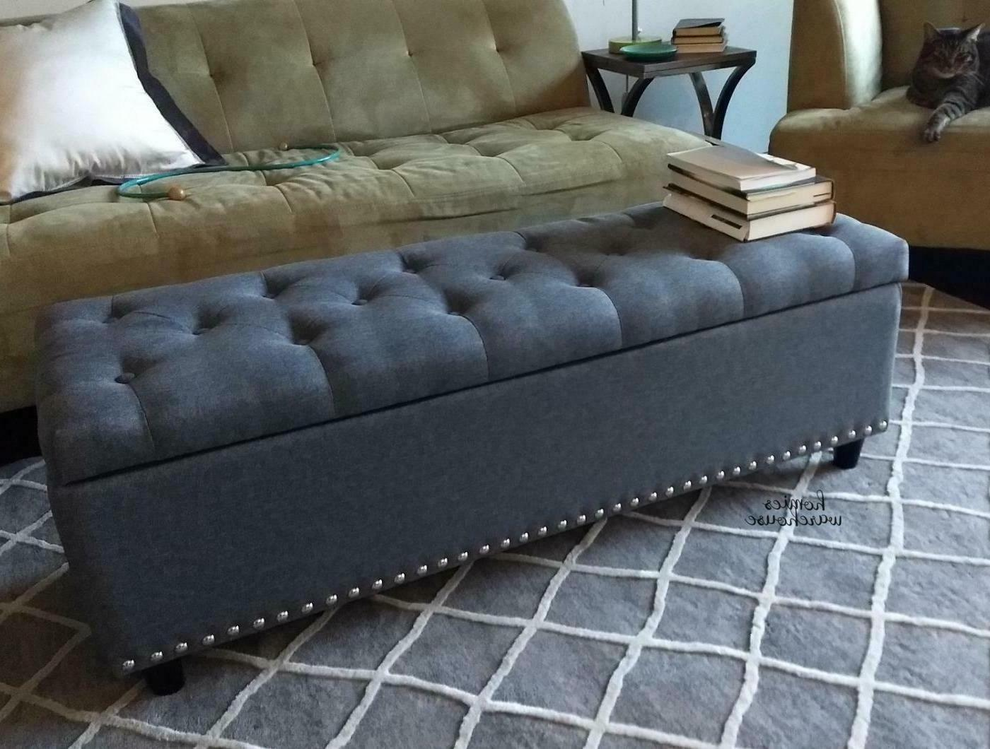 end of bed storage bench gray tufted