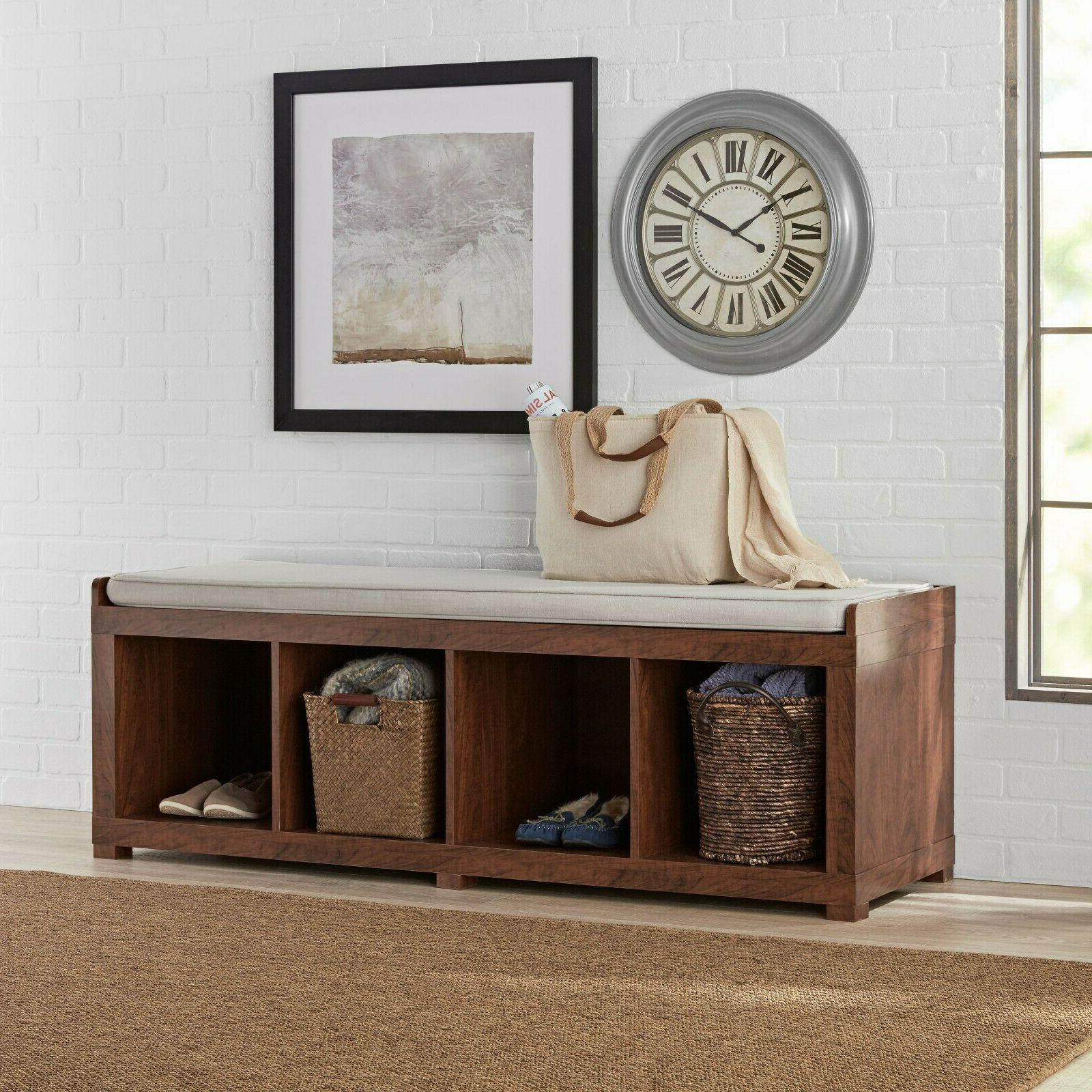 Entryway Mudroom Bench Cushion Seat Wood Upholstered