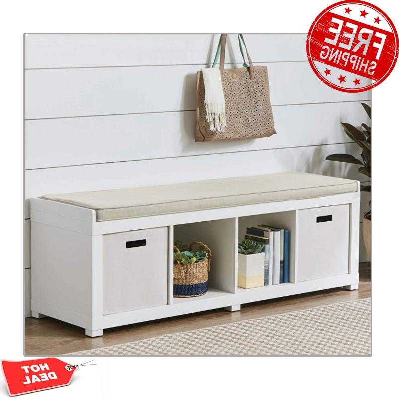 entryway storage bench wood cushion sitting furniture