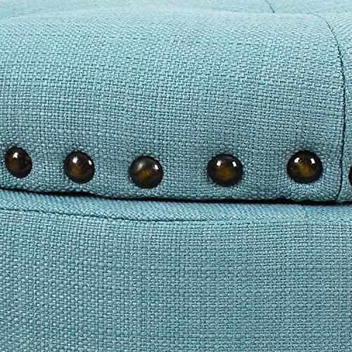 Adeco Euro Style Bench Footstool, Blue