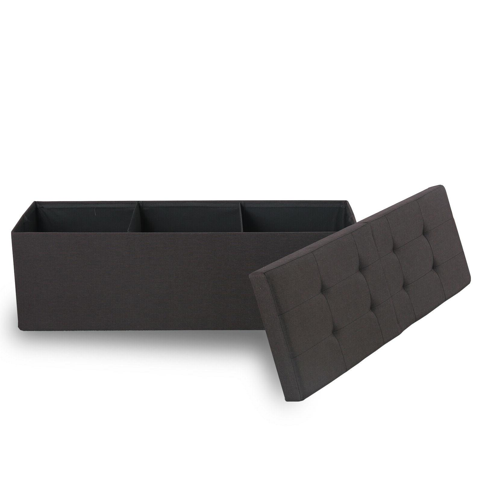 Faux Leather Ottoman Bench Chest Coffee