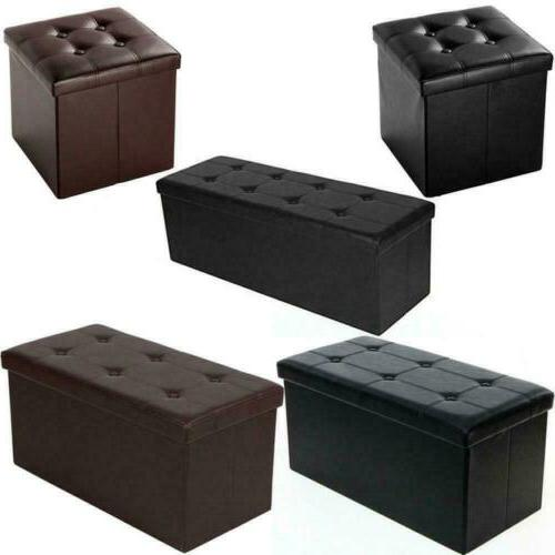 faux leather storage footstool sofa ottoman bench