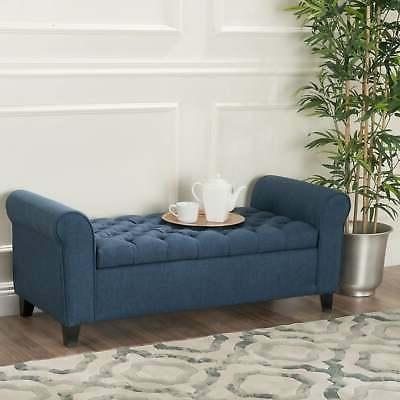 Keiko Contemporary Rolled Arm Fabric Ottoman Bench