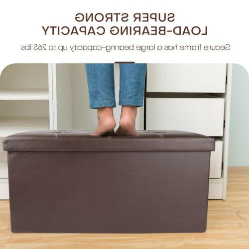 Leather Storage Footrest Shoe Bench Seat
