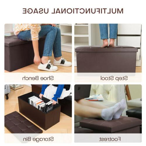 Leather Storage Ottoman Footrest Seat Support 300lbs