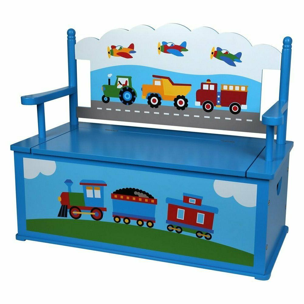 Olive Kids Trains, Planes, Trucks Bench Seat with Storage