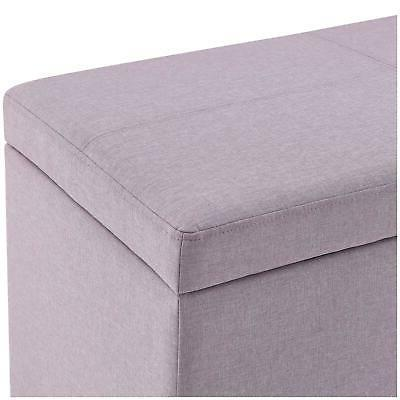 OTTOMAN BENCH Leather Faux Seat Chest Large Bedroom Decor