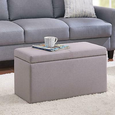 OTTOMAN STORAGE BENCH STOOL Leather Faux Seat Box Chest Large Decor