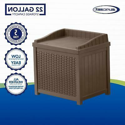 Outdoor Storage Bench with Lid Back Patio Deck Gallon