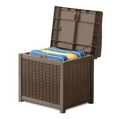 Outdoor Resin Storage Seat Bench with Lid Back Patio Deck Ya