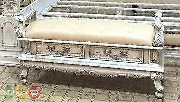 Victorian Inspired Antique White Luxury Upholstered Storage