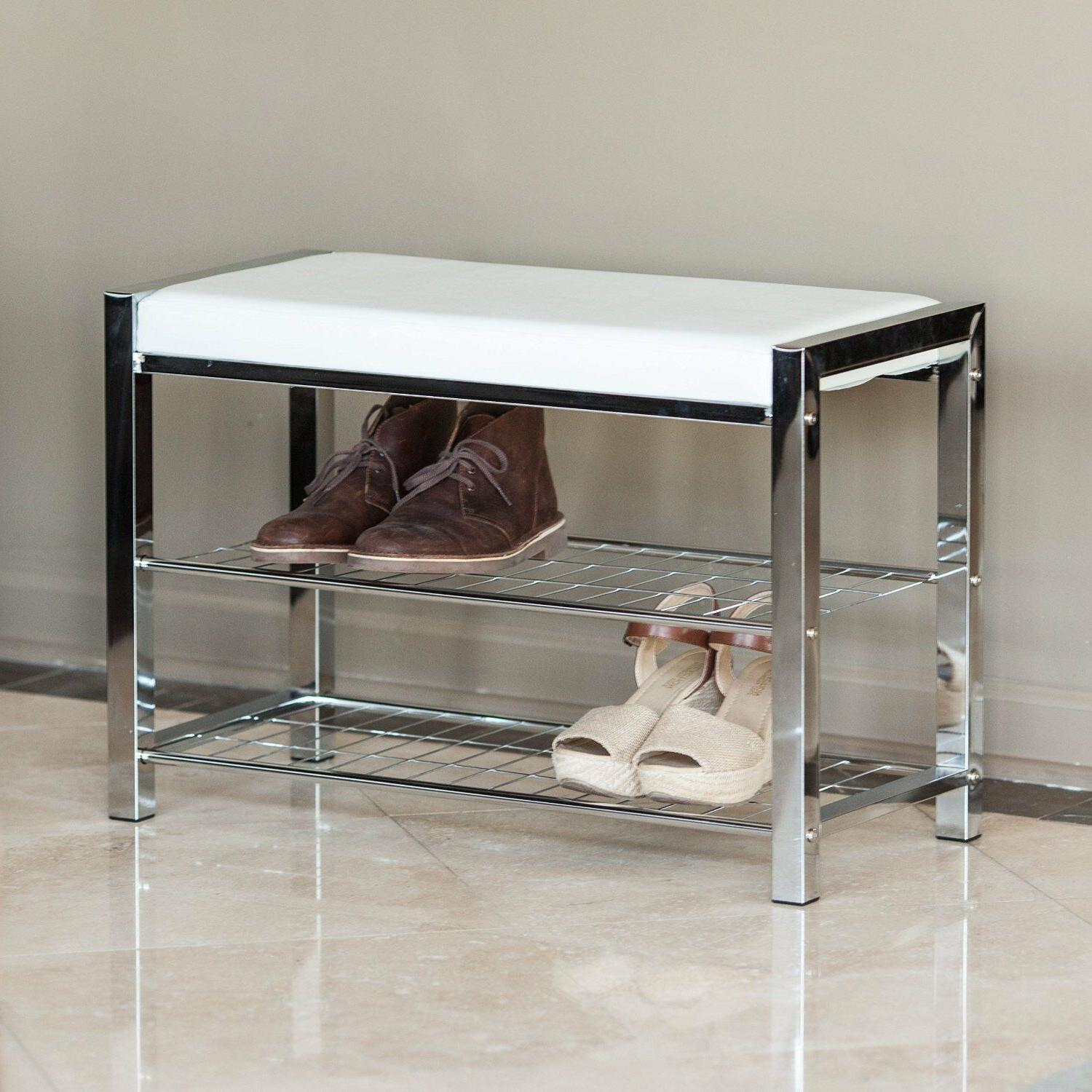 Danya B™ White Leatherette Storage Entryway Bench With Chr