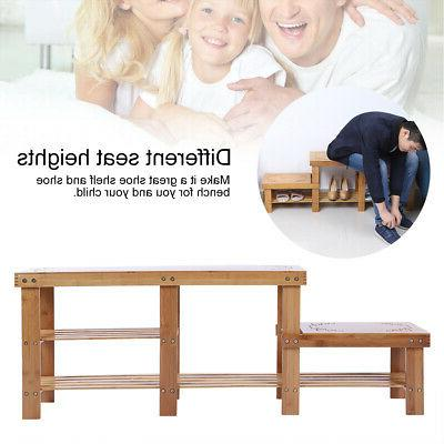 Bamboo Shoe Bench Storage Rack Wooden Adult Child Shoe Bench