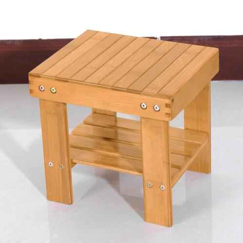 Kids Bamboo Bench Stool Step with Storage Shelf for Bedroom
