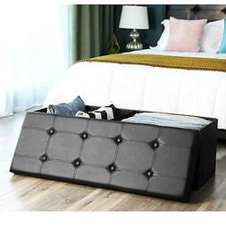 Large Folding Storage Bench Ottoman Organizer Furniture for