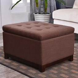 Large Storage Ottoman Stool Bench Seat Linen Tufted,