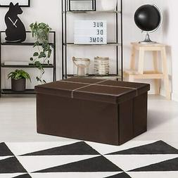 Leather Folding Storage Ottoman- Faux Leather Storage Bench