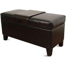 HomePop Leatherette Storage Bench with Wood Tray, Black