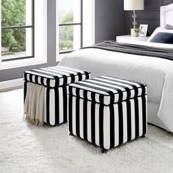 Linen Hidden Storage Cube Ottoman Bench Upholstered Square w