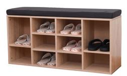 Natural Wooden Shoe Cubicle Storage Entryway Bench with Soft