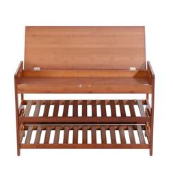 New Bamboo Shoe Rack Bench Entryway Organizer Seat Hide Stor