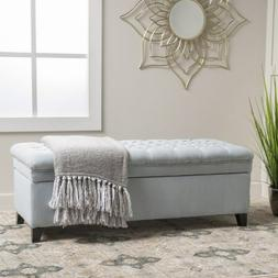 New Hastings Tufted Fabric Storage Ottoman Bench Light Sky