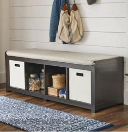 Entryway Bench Storage Mud Sitting Room Organizer W/Cushion