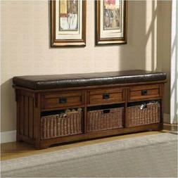 Bowery Hill Oak Large Storage Bench with Baskets