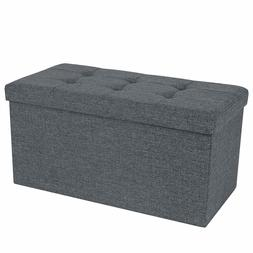 Ottoman Bench Padded Chest Storage Seat with Lid 80L Capacit