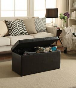 ottoman storage bench stool leather faux seat