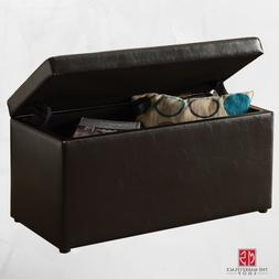 OTTOMAN STORAGE BENCH STOOL Leather Faux Seat Box Chest Larg