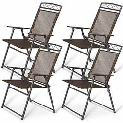 Outdoor Folding Deck Patio Chairs Set of 4 Lawn Yard Fire Pi