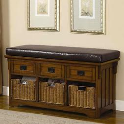 Porrato Traditional Oak Finish Storage Bench With Baskets &