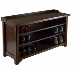 Shoe Bench Seat Rack Wood Entryway Organizer Wooden Brown La