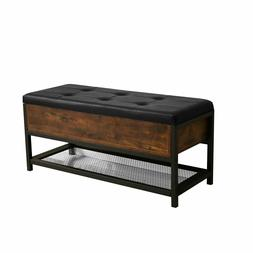 Shoe Storage Bench Ottoman Hallway Bedroom Two Seater Wood C