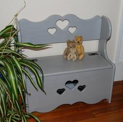 Small Child Size Painted Bench with Antique Hardware & Fabri