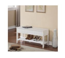 Small Storage Bench for Entryway Shoe Rack White Solid Wood