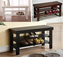 solid wood shoe bench with two racks