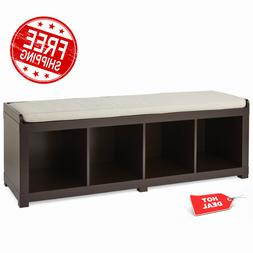 Storage Bench 4-Cube Organizer Upholstered Cushion Home Furn