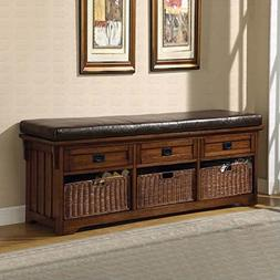 Coaster Storage Bench In Medium Brown Finish 501060
