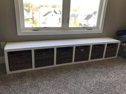 White Storage Bench with Cubbies for Entryway or Toy Room