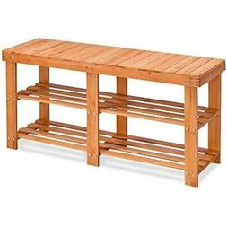 Two Tier Shoe Rack Bamboo Bench Entryway Organizer With Stor